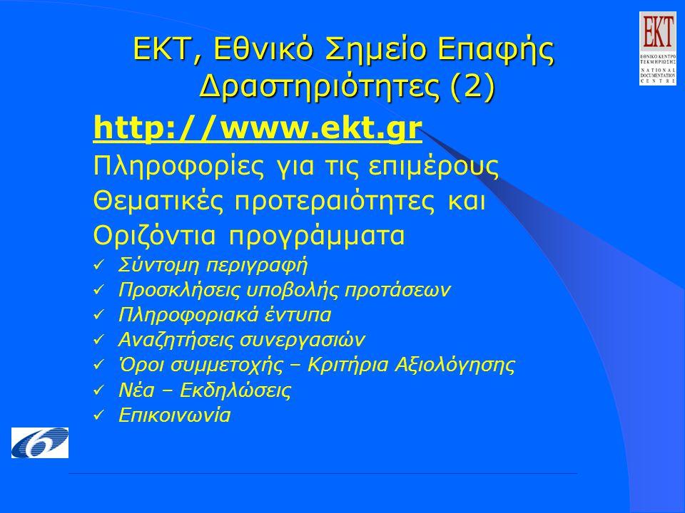 ΕΚΤ, Εθνικό Σημείο Επαφής Δραστηριότητες (2) http://www.ekt.gr Πληροφορίες για τις επιμέρους Θεματικές προτεραιότητες και Οριζόντια προγράμματα Σύντομη περιγραφή Προσκλήσεις υποβολής προτάσεων Πληροφοριακά έντυπα Αναζητήσεις συνεργασιών Όροι συμμετοχής – Κριτήρια Αξιολόγησης Νέα – Εκδηλώσεις Επικοινωνία