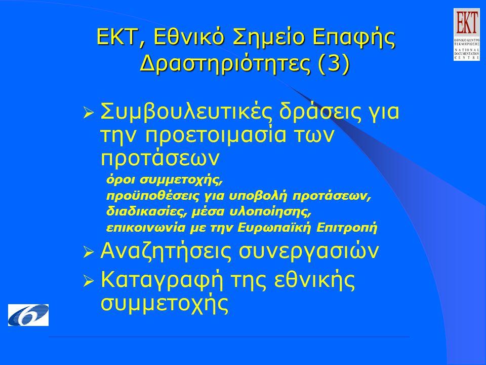 ΕΚΤ, Εθνικό Σημείο Επαφής Δραστηριότητες (3)  Συμβουλευτικές δράσεις για την προετοιμασία των προτάσεων όροι συμμετοχής, προϋποθέσεις για υποβολή προτάσεων, διαδικασίες, μέσα υλοποίησης, επικοινωνία με την Ευρωπαϊκή Επιτροπή  Αναζητήσεις συνεργασιών  Καταγραφή της εθνικής συμμετοχής