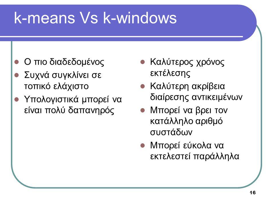 16 k-means Vs k-windows Ο πιο διαδεδομένος Συχνά συγκλίνει σε τοπικό ελάχιστο Υπολογιστικά μπορεί να είναι πολύ δαπανηρός Καλύτερος χρόνος εκτέλεσης Καλύτερη ακρίβεια διαίρεσης αντικειμένων Μπορεί να βρει τον κατάλληλο αριθμό συστάδων Μπορεί εύκολα να εκτελεστεί παράλληλα