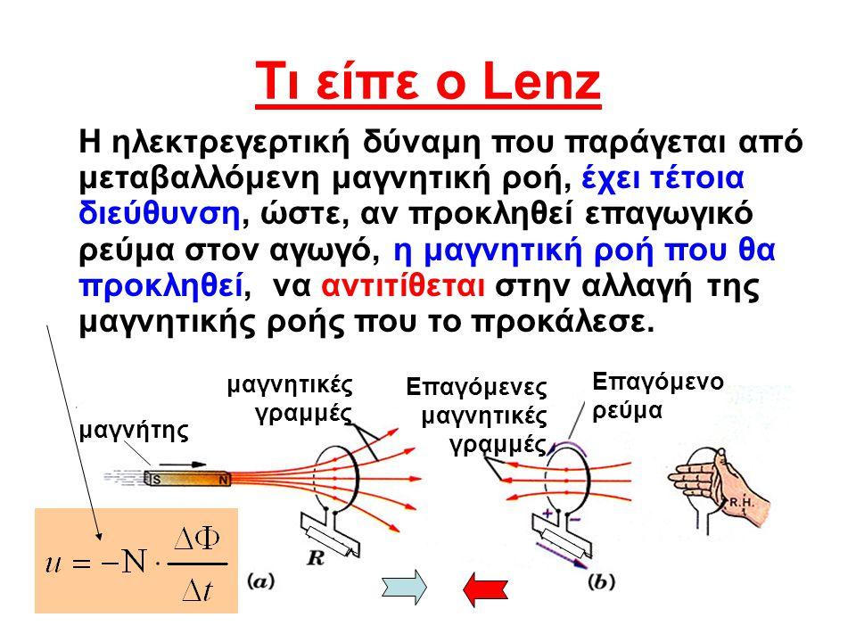 Τι είπε ο Lenz Η ηλεκτρεγερτική δύναμη που παράγεται από μεταβαλλόμενη μαγνητική ροή, έχει τέτοια διεύθυνση, ώστε, αν προκληθεί επαγωγικό ρεύμα στον αγωγό, η μαγνητική ροή που θα προκληθεί, να αντιτίθεται στην αλλαγή της μαγνητικής ροής που το προκάλεσε.