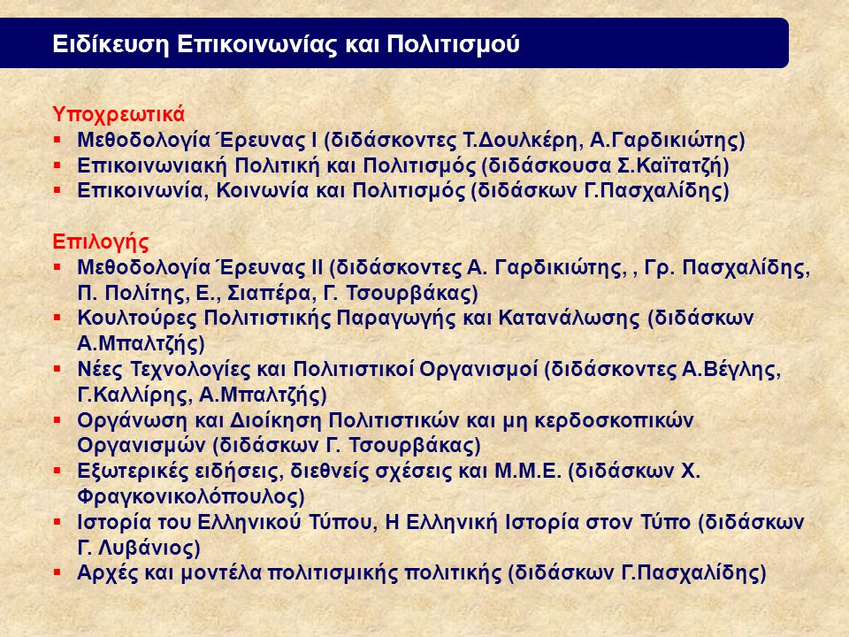 Ειδίκευση Επικοινωνίας και Πολιτισμού Υποχρεωτικά  Μεθοδολογία Έρευνας Ι (διδάσκοντες Τ.Δουλκέρη, Α.Γαρδικιώτης)  Επικοινωνιακή Πολιτική και Πολιτισμός (διδάσκουσα Σ.Καϊτατζή)  Επικοινωνία, Κοινωνία και Πολιτισμός (διδάσκων Γ.Πασχαλίδης) Επιλογής  Μεθοδολογία Έρευνας ΙΙ (διδάσκοντες Α.