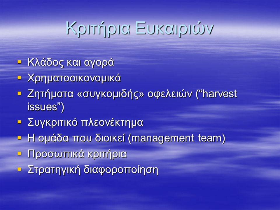 Κριτήρια Ευκαιριών  Κλάδος και αγορά  Χρηματοοικονομικά  Ζητήματα «συγκομιδής» οφελειών ( harvest issues )  Συγκριτικό πλεονέκτημα  Η ομάδα που διοικεί (management team)  Προσωπικά κριτήρια  Στρατηγική διαφοροποίηση
