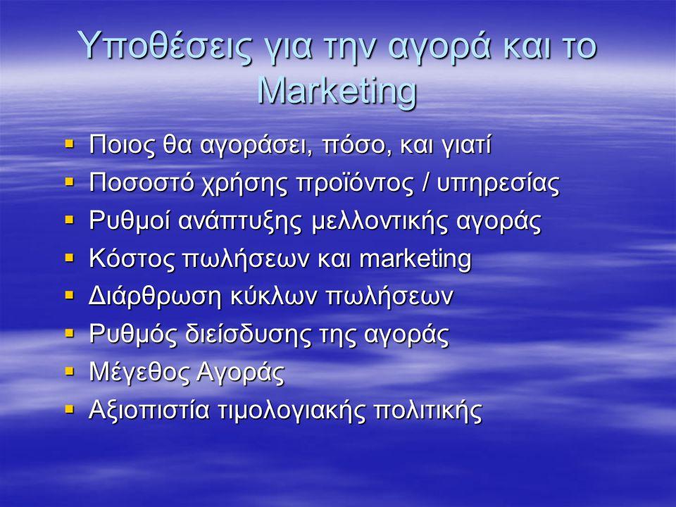 Υποθέσεις για την αγορά και το Marketing  Ποιος θα αγοράσει, πόσο, και γιατί  Ποσοστό χρήσης προϊόντος / υπηρεσίας  Ρυθμοί ανάπτυξης μελλοντικής αγοράς  Κόστος πωλήσεων και marketing  Διάρθρωση κύκλων πωλήσεων  Ρυθμός διείσδυσης της αγοράς  Μέγεθος Αγοράς  Αξιοπιστία τιμολογιακής πολιτικής