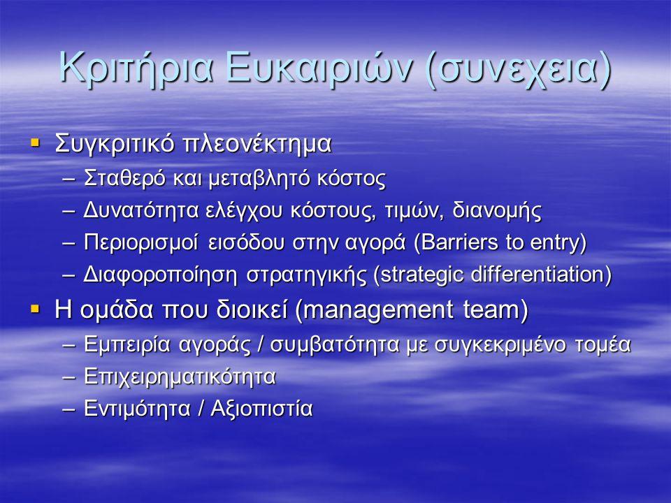 Κριτήρια Ευκαιριών (συνεχεια)  Συγκριτικό πλεονέκτημα –Σταθερό και μεταβλητό κόστος –Δυνατότητα ελέγχου κόστους, τιμών, διανομής –Περιορισμοί εισόδου στην αγορά (Barriers to entry) –Διαφοροποίηση στρατηγικής (strategic differentiation)  Η ομάδα που διοικεί (management team) –Εμπειρία αγοράς / συμβατότητα με συγκεκριμένο τομέα –Επιχειρηματικότητα –Εντιμότητα / Αξιοπιστία