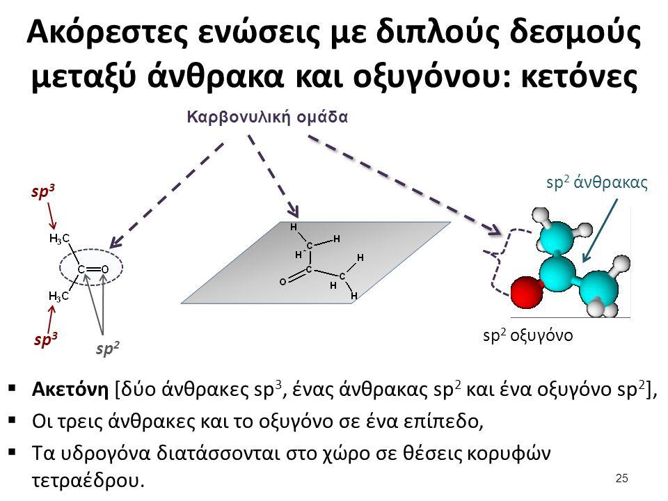Ακόρεστες ενώσεις με διπλούς δεσμούς μεταξύ άνθρακα και οξυγόνου: κετόνες  Ακετόνη [δύο άνθρακες sp 3, ένας άνθρακας sp 2 και ένα οξυγόνο sp 2 ],  Ο