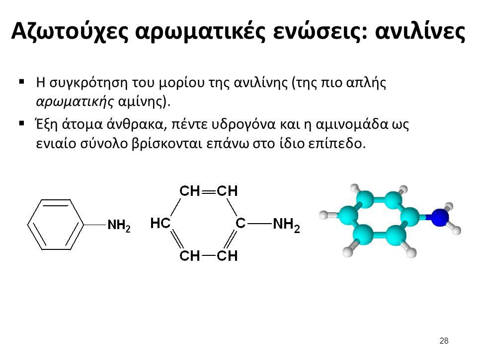 Αζωτούχες αρωματικές ενώσεις: ανιλίνες  Η συγκρότηση του μορίου της ανιλίνης (της πιο απλής αρωματικής αμίνης).  Έξη άτομα άνθρακα, πέντε υδρογόνα κ