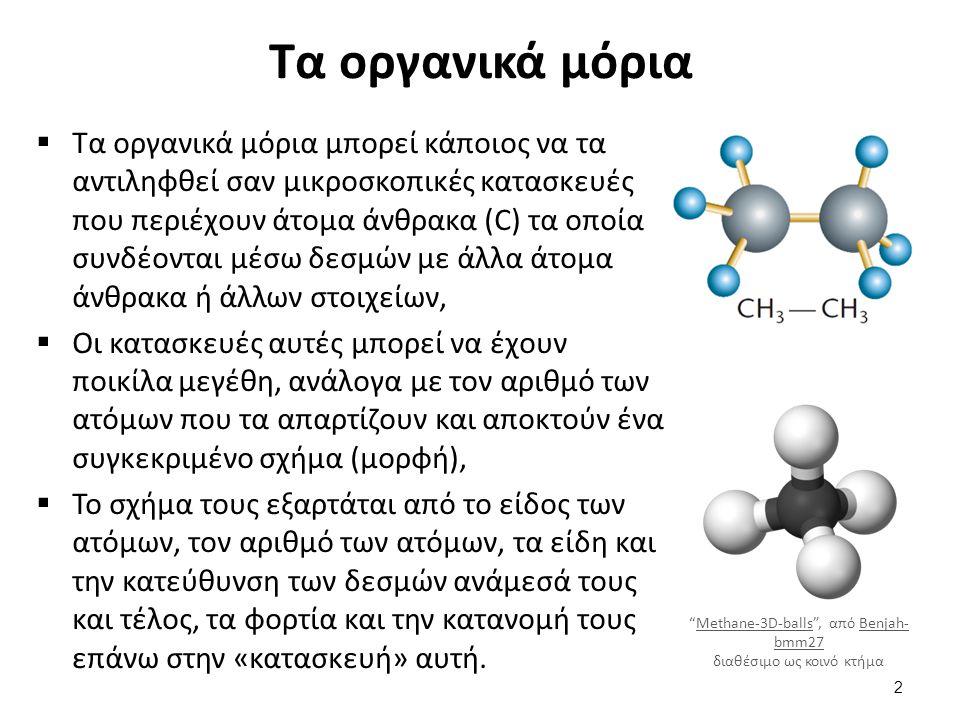 Τα οργανικά μόρια  Τα οργανικά μόρια μπορεί κάποιος να τα αντιληφθεί σαν μικροσκοπικές κατασκευές που περιέχουν άτομα άνθρακα (C) τα οποία συνδέονται