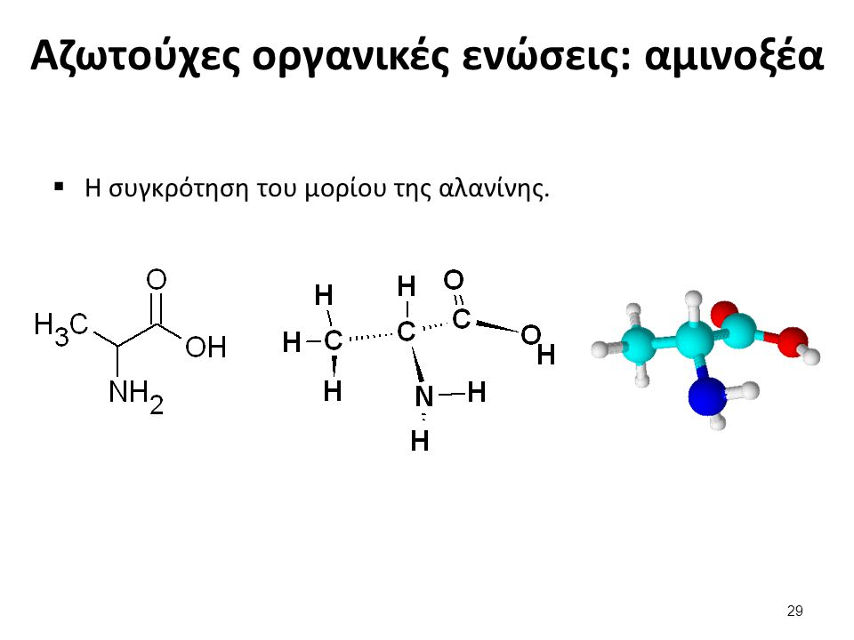 Αζωτούχες οργανικές ενώσεις: αμινοξέα  Η συγκρότηση του μορίου της αλανίνης. 29