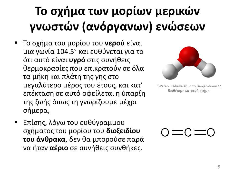 Το σχήμα των μορίων μερικών γνωστών (ανόργανων) ενώσεων  Το σχήμα του μορίου του νερού είναι μια γωνία 104.5° και ευθύνεται για το ότι αυτό είναι υγρ
