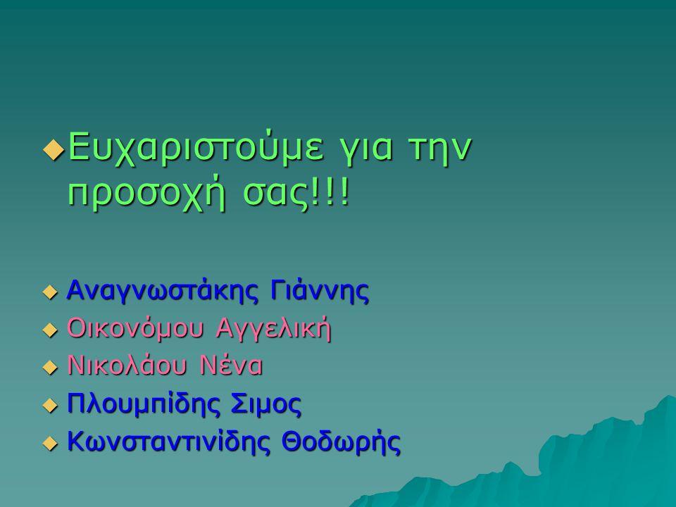  Ευχαριστούμε για την προσοχή σας!!!  Αναγνωστάκης Γιάννης  Οικονόμου Αγγελική  Νικολάου Νένα  Πλουμπίδης Σιμος  Κωνσταντινίδης Θοδωρής