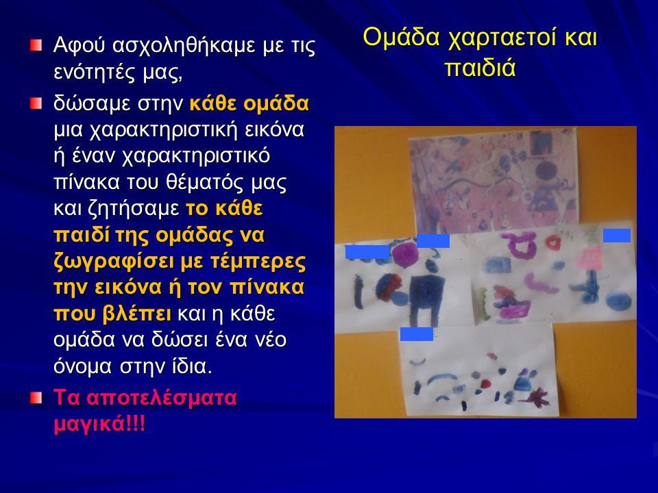 Ομάδα χαρταετοί και παιδιά Αφού ασχοληθήκαμε με τις ενότητές μας, δώσαμε στην κάθε ομάδα μια χαρακτηριστική εικόνα ή έναν χαρακτηριστικό πίνακα του θέ