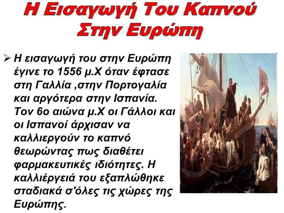 Στην Ελλάδα ο καπνός έφτασε το 17ο αιώνα.Το μετέφεραν οι Ισπανοί και Πορτογάλοι θαλασσοπόροι.