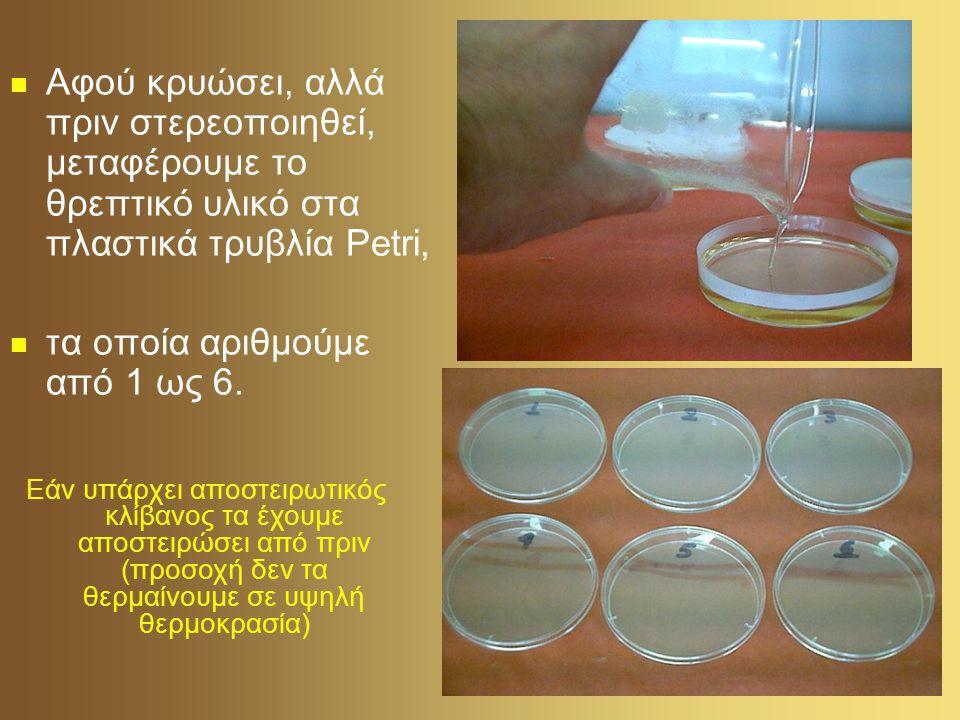 Εμβολιασμός Αφήνουμε το τρυβλίο 1 ανοιχτό μέσα στην τάξη για πέντε λεπτά το τρυβλίο 2 ανοιχτό έξω από την τάξη για πέντε λεπτά Ένας μαθητής ανοίγει το τρυβλίο 3 και το αγγίζει με το δάχτυλο του.