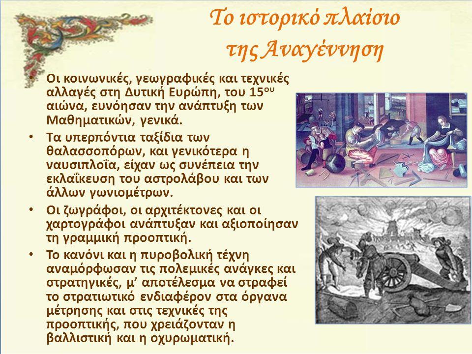 Το ιστορικό πλαίσιο της Αναγέννηση Οι κοινωνικές, γεωγραφικές και τεχνικές αλλαγές στη Δυτική Ευρώπη, του 15 ου αιώνα, ευνόησαν την ανάπτυξη των Μαθημ