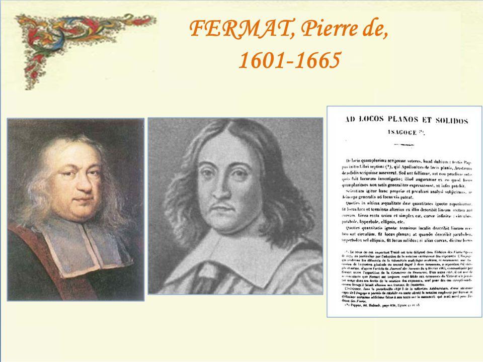 FERMAT, Pierre de, 1601-1665
