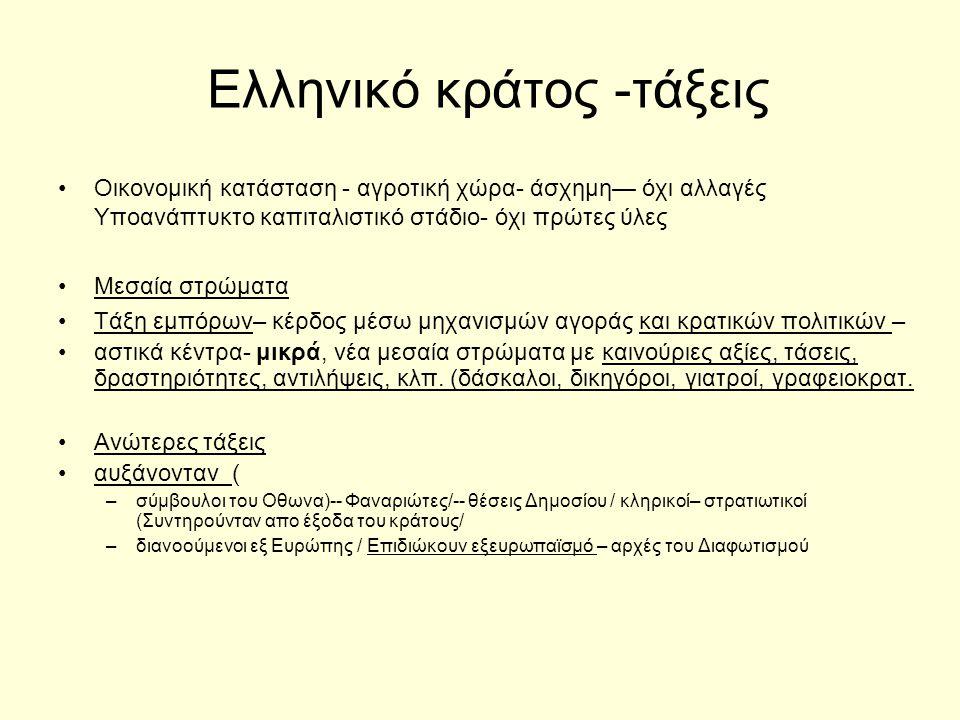 Ελληνικό κράτος -τάξεις Οικονομική κατάσταση - αγροτική χώρα- άσχημη— όχι αλλαγές Υποανάπτυκτο καπιταλιστικό στάδιο- όχι πρώτες ύλες Μεσαία στρώματα Τάξη εμπόρων– κέρδος μέσω μηχανισμών αγοράς και κρατικών πολιτικών – αστικά κέντρα- μικρά, νέα μεσαία στρώματα με καινούριες αξίες, τάσεις, δραστηριότητες, αντιλήψεις, κλπ.