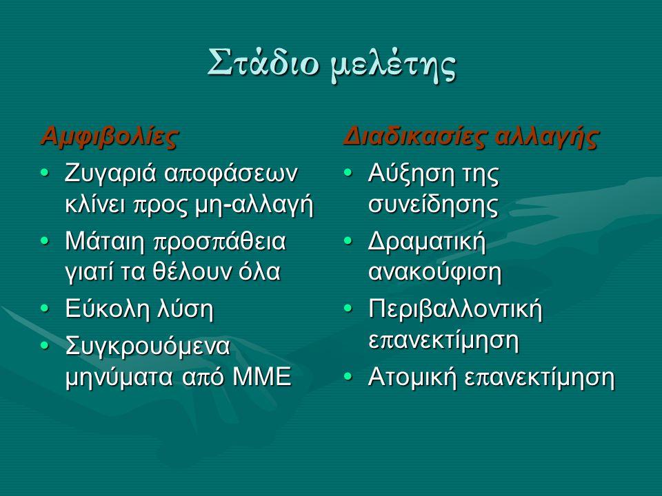 Στάδιο προετοιμασίας Δέσμευση για αλλαγή Αμφιβολίες Αμφιβολίες Δεν έχουν βρει το κατάλληλο σχέδιο δράσης ( σχήμα αλλαγής ) Δεν έχουν βρει το κατάλληλο σχέδιο δράσης ( σχήμα αλλαγής ) Τυχαία δέσμευση ( θαυματουργές δίαιτες ) Τυχαία δέσμευση ( θαυματουργές δίαιτες ) Φραγμοί στην αλλαγή ( δεξιότητες, ευκολίες, οικονομικά, τροφικές π ροτιμήσεις, χρόνος ) Φραγμοί στην αλλαγή ( δεξιότητες, ευκολίες, οικονομικά, τροφικές π ροτιμήσεις, χρόνος ) Διαδικασίες Ατομική α π ελευθέρωση Κοινωνική α π ελευθέρωση