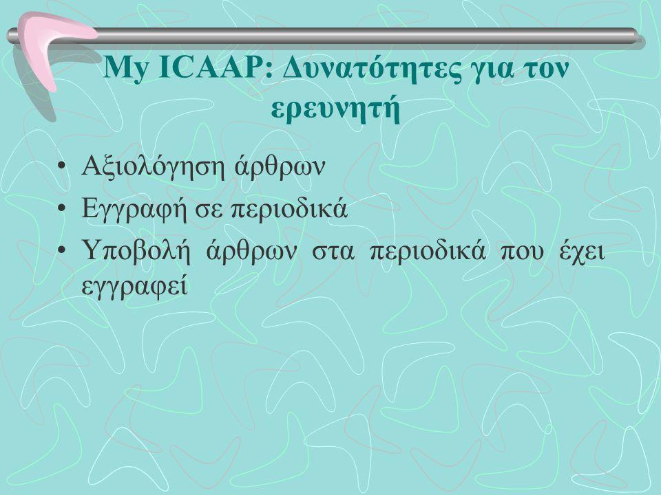 My ICAAP: Δυνατότητες για τον ερευνητή Αξιολόγηση άρθρων Εγγραφή σε περιοδικά Υποβολή άρθρων στα περιοδικά που έχει εγγραφεί
