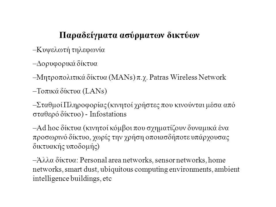 Παραδείγματα ασύρματων δικτύων –Κυψελωτή τηλεφωνία –Δορυφoρικά δίκτυα –Μητροπολιτικά δίκτυα (MANs) π.χ. Patras Wireless Network –Τοπικά δίκτυα (LANs)