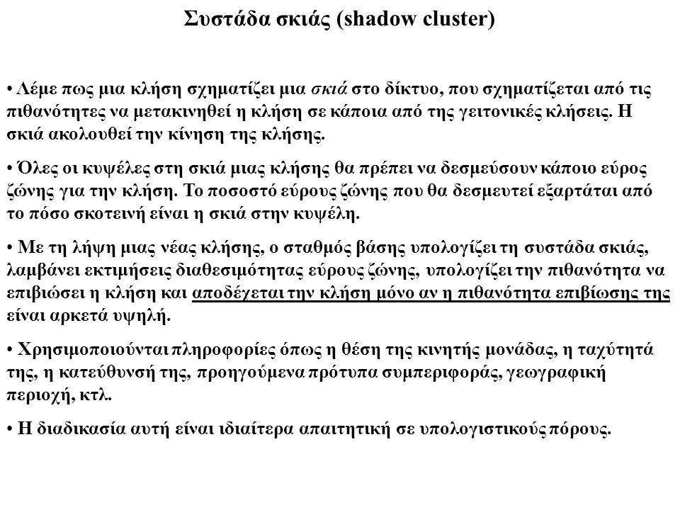 Συστάδα σκιάς (shadow cluster) Λέμε πως μια κλήση σχηματίζει μια σκιά στο δίκτυο, που σχηματίζεται από τις πιθανότητες να μετακινηθεί η κλήση σε κάποι