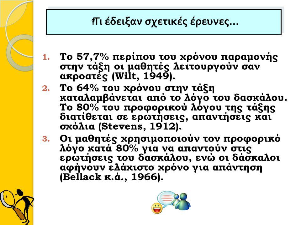   Τι έδειξαν σχετικές έρευνες … 1. Το 57,7% περίπου του χρόνου παραμονής στην τάξη οι μαθητές λειτουργούν σαν ακροατές (Wilt, 1949). 2. Το 64% του χ