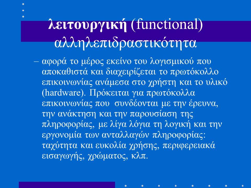 λειτουργική (functional) αλληλεπιδραστικότητα –αφορά το μέρος εκείνο του λογισμικού που αποκαθιστά και διαχειρίζεται το πρωτόκολλο επικοινωνίας ανάμεσα στο χρήστη και το υλικό (hardware).