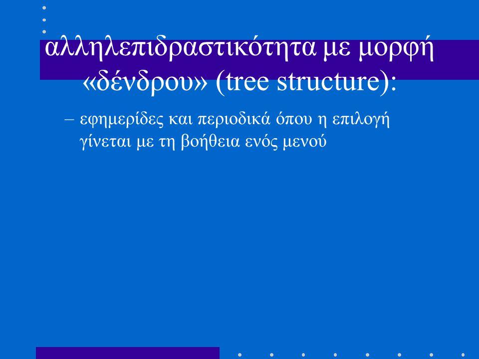 αλληλεπιδραστικότητα με μορφή «δένδρου» (tree structure): –εφημερίδες και περιοδικά όπου η επιλογή γίνεται με τη βοήθεια ενός μενού