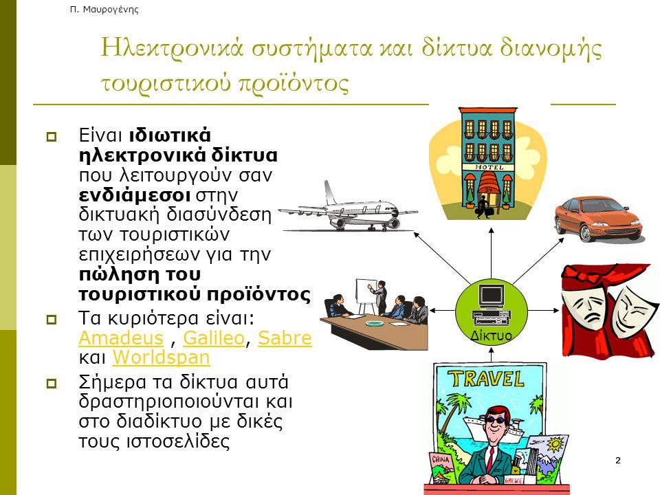 Π. Μαυρογένης Ηλεκτρονικά συστήματα και δίκτυα διανομής τουριστικού προϊόντος  Είναι ιδιωτικά ηλεκτρονικά δίκτυα που λειτουργούν σαν ενδιάμεσοι στην