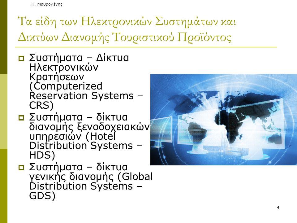 4 Τα είδη των Ηλεκτρονικών Συστημάτων και Δικτύων Διανομής Τουριστικού Προϊόντος  Συστήματα – Δίκτυα Ηλεκτρονικών Κρατήσεων (Computerized Reservation Systems – CRS)  Συστήματα – δίκτυα διανομής ξενοδοχειακών υπηρεσιών (Hotel Distribution Systems – HDS)  Συστήματα – δίκτυα γενικής διανομής (Global Distribution Systems – GDS)