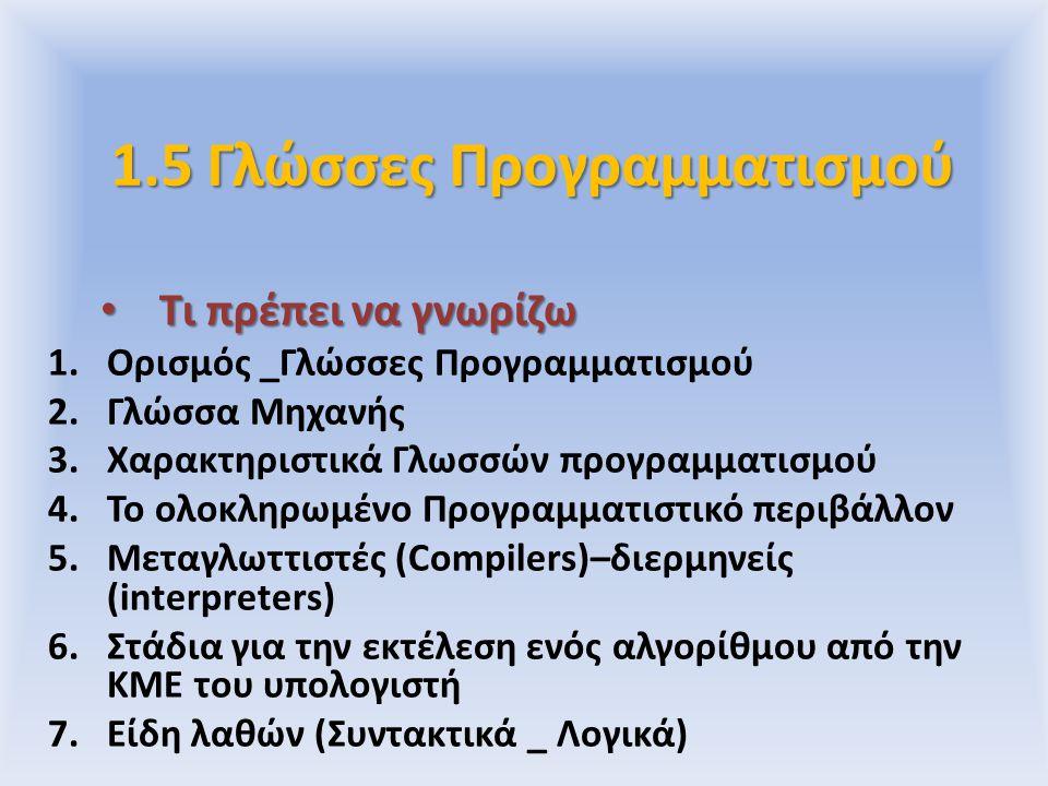 1.5 Γλώσσες Προγραμματισμού Τι πρέπει να γνωρίζω Τι πρέπει να γνωρίζω 1.Ορισμός _Γλώσσες Προγραμματισμού 2.Γλώσσα Μηχανής 3.Χαρακτηριστικά Γλωσσών προ