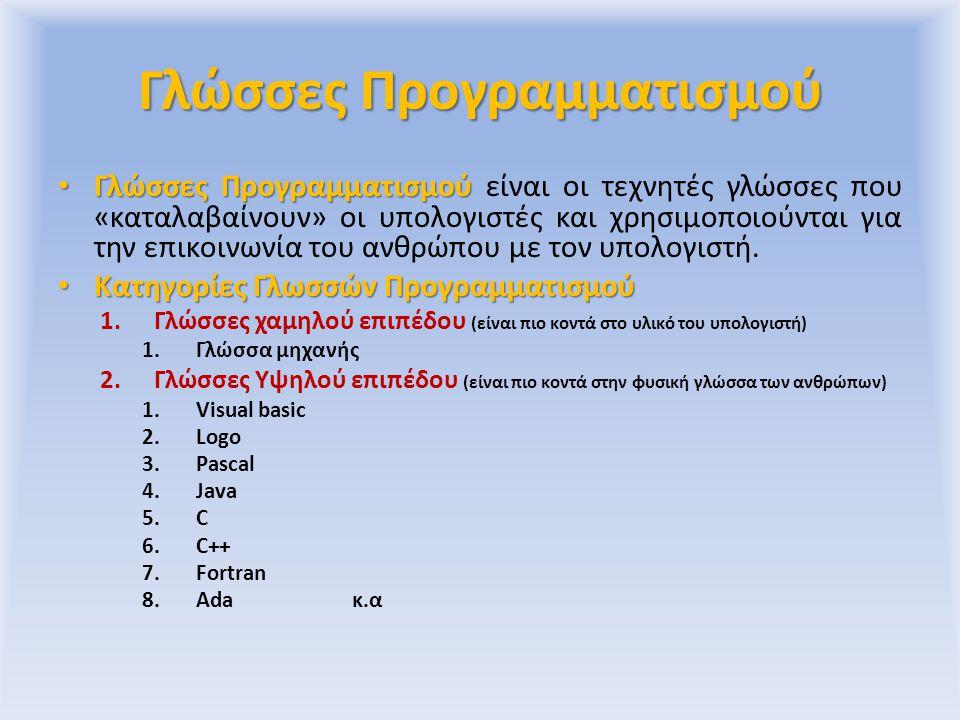 Γλώσσα Μηχανής Η γλώσσα μηχανής αλφάβητο το «0» και το «1».