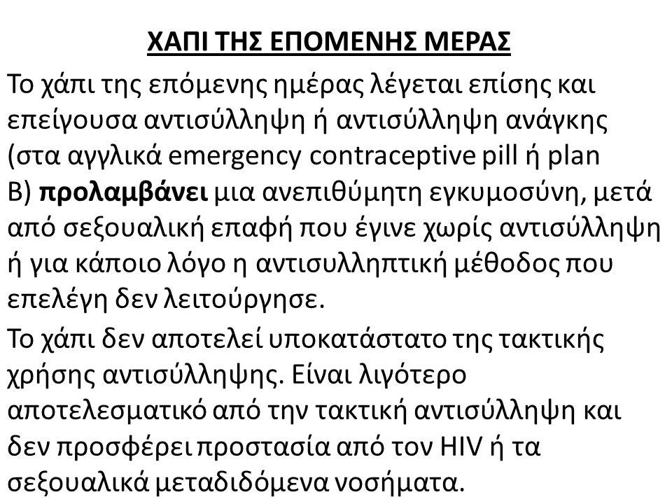Το χάπι της επόμενης ημέρας λέγεται επίσης και επείγουσα αντισύλληψη ή αντισύλληψη ανάγκης (στα αγγλικά emergency contraceptive pill ή plan B) προλαμβ