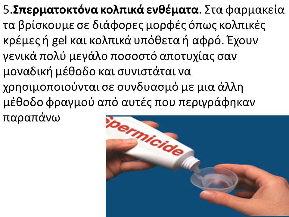 5.Σπερματοκτόνα κολπικά ενθέματα. Στα φαρμακεία τα βρίσκουμε σε διάφορες μορφές όπως κολπικές κρέμες ή gel και κολπικά υπόθετα ή αφρό. Έχουν γενικά πο