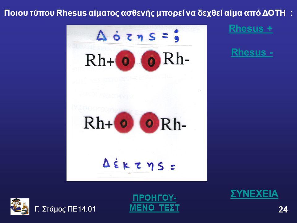 Γ. Στάμος ΠΕ14.01 24 Rhesus + Rhesus + Rhesus -Rhesus - ΠΡΟΗΓΟΥ- ΜΕΝΟ ΤΕΣΤ Ποιου τύπου Rhesus αίματος ασθενής μπορεί να δεχθεί αίμα από ΔΟΤΗ : ΣΥΝΕΧΕΙ