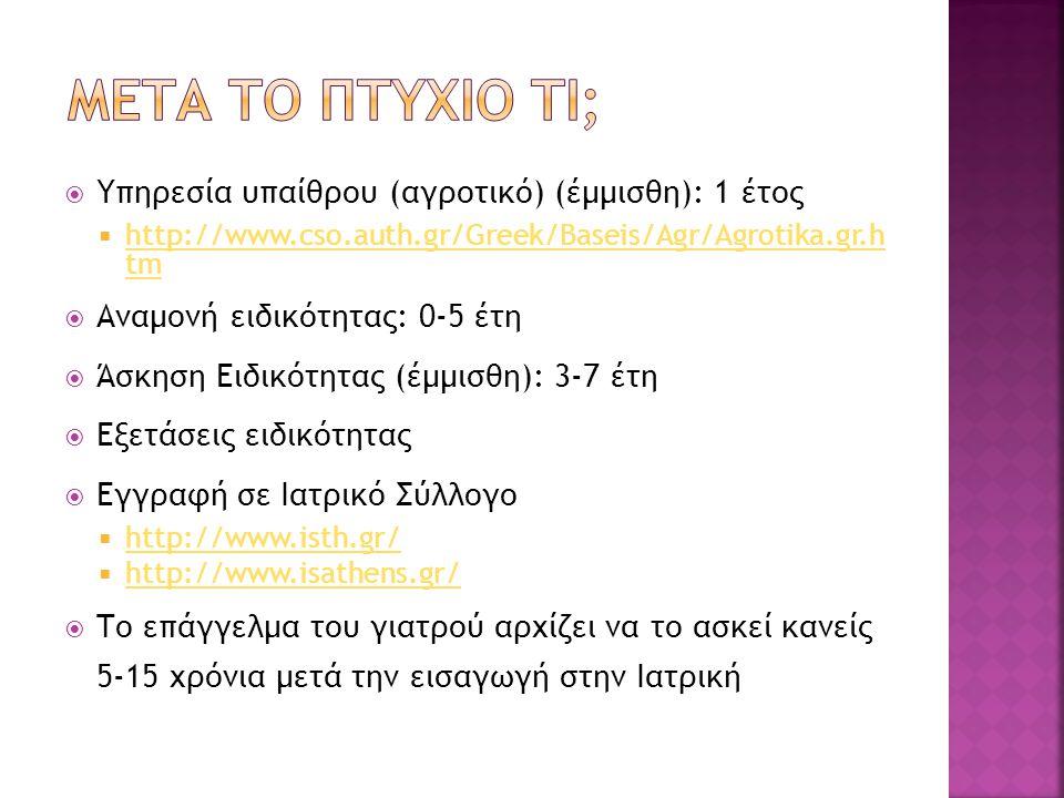  Υπηρεσία υπαίθρου (αγροτικό) (έμμισθη): 1 έτος  http://www.cso.auth.gr/Greek/Baseis/Agr/Agrotika.gr.h tm http://www.cso.auth.gr/Greek/Baseis/Agr/Ag