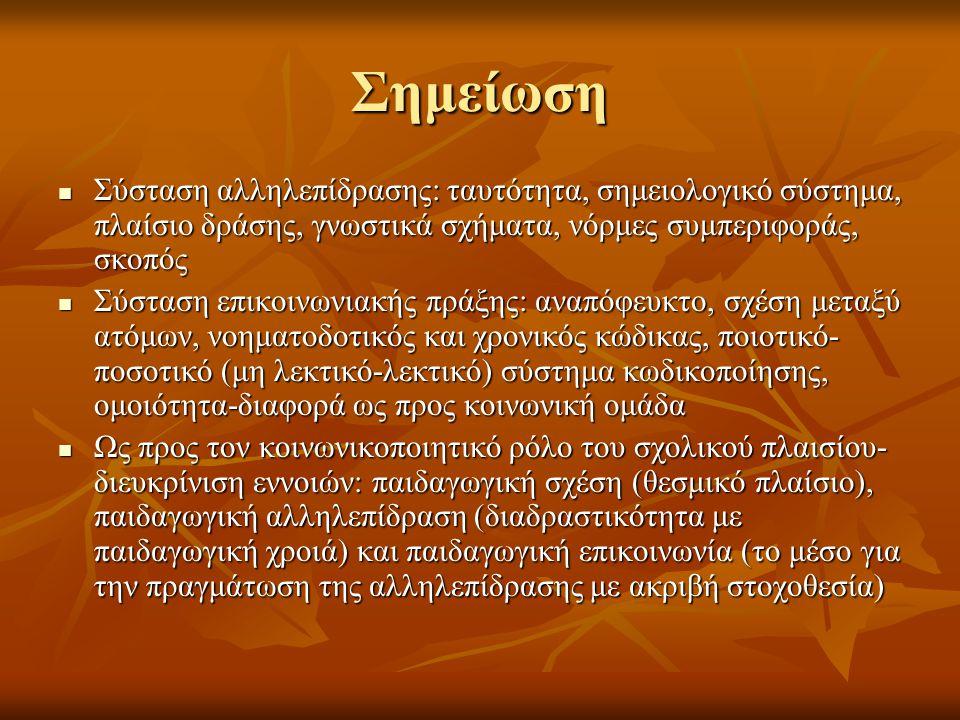 Λεκτική επικοινωνία-διευκρίνιση εννοιών (Κατή, 2000) Επικοινωνία: συμβολική αναπαράσταση της αλληλεπίδρασης Επικοινωνία: συμβολική αναπαράσταση της αλληλεπίδρασης Σύμβολα: λεκτικοί και μη λεκτικοί κώδικες Σύμβολα: λεκτικοί και μη λεκτικοί κώδικες Γλώσσα: σύστημα ήχων και νοημάτων Γλώσσα: σύστημα ήχων και νοημάτων Λόγος: κοινή χρήση γλώσσας Λόγος: κοινή χρήση γλώσσας Ομιλία: ατομική χρήση γλώσσας (Saussure, 1916) Ομιλία: ατομική χρήση γλώσσας (Saussure, 1916) Γλωσσική ικανότητα: γνώση γλώσσας ως αντικείμενο Γλωσσική ικανότητα: γνώση γλώσσας ως αντικείμενο Γλωσσική πλήρωση: αποτελεσματική χρήση γλώσσας- ικανοποίηση πρόθεσης Γλωσσική πλήρωση: αποτελεσματική χρήση γλώσσας- ικανοποίηση πρόθεσης Επικοινωνιακή ικανότητα: επάρκεια στη χρήση της γλώσσας- επιτέλεση επικοινωνιακού σκοπού (Hymes, 1972) Επικοινωνιακή ικανότητα: επάρκεια στη χρήση της γλώσσας- επιτέλεση επικοινωνιακού σκοπού (Hymes, 1972)