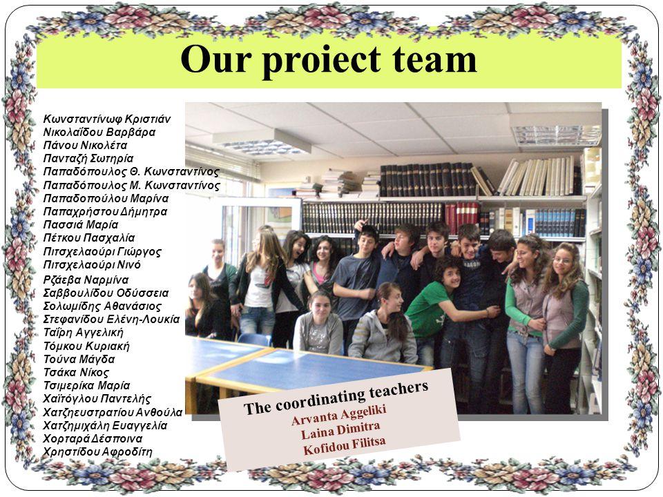 Our proiect team Κωνσταντίνωφ Κριστιάν Νικολαΐδου Βαρβάρα Πάνου Νικολέτα Πανταζή Σωτηρία Παπαδόπουλος Θ.