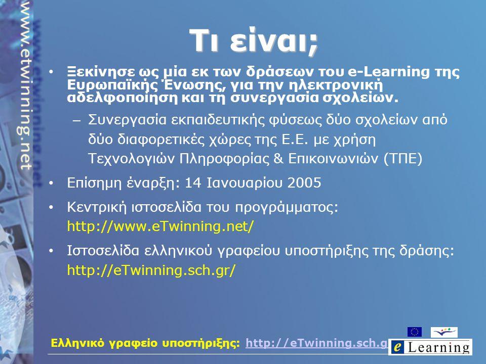 Ελληνικό γραφείο υποστήριξης: http://eTwinning.sch.grhttp://eTwinning.sch.gr Τι είναι; Ξεκίνησε ως μία εκ των δράσεων του e-Learning της Ευρωπαϊκής Έν
