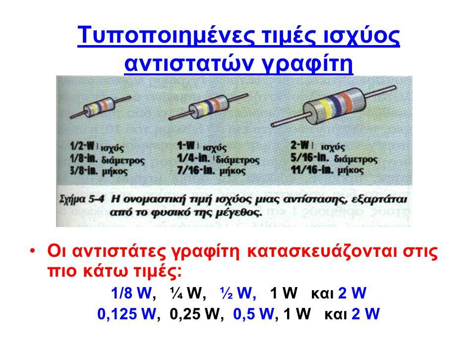 Τυποποιημένες τιμές ισχύος αντιστατών γραφίτη Οι αντιστάτες γραφίτη κατασκευάζονται στις πιο κάτω τιμές: 1/8 W, ¼ W, ½ W, 1 W και 2 W 0,125 W, 0,25 W,