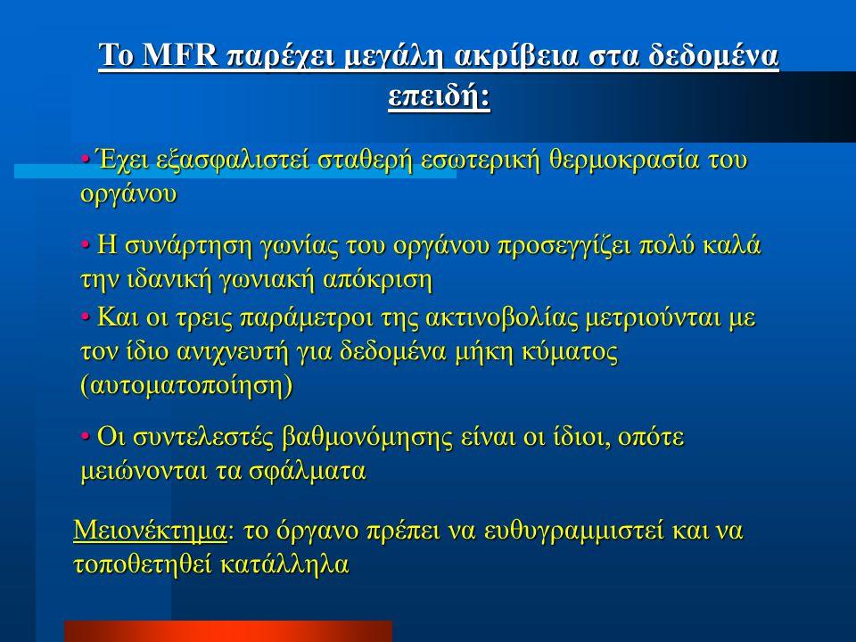 Το MFR παρέχει μεγάλη ακρίβεια στα δεδομένα επειδή: Έχει εξασφαλιστεί σταθερή εσωτερική θερμοκρασία του οργάνου Έχει εξασφαλιστεί σταθερή εσωτερική θερμοκρασία του οργάνου Η συνάρτηση γωνίας του οργάνου προσεγγίζει πολύ καλά την ιδανική γωνιακή απόκριση Η συνάρτηση γωνίας του οργάνου προσεγγίζει πολύ καλά την ιδανική γωνιακή απόκριση Και οι τρεις παράμετροι της ακτινοβολίας μετριούνται με τον ίδιο ανιχνευτή για δεδομένα μήκη κύματος (αυτοματοποίηση) Και οι τρεις παράμετροι της ακτινοβολίας μετριούνται με τον ίδιο ανιχνευτή για δεδομένα μήκη κύματος (αυτοματοποίηση) Οι συντελεστές βαθμονόμησης είναι οι ίδιοι, οπότε μειώνονται τα σφάλματα Οι συντελεστές βαθμονόμησης είναι οι ίδιοι, οπότε μειώνονται τα σφάλματα Μειονέκτημα: το όργανο πρέπει να ευθυγραμμιστεί και να τοποθετηθεί κατάλληλα