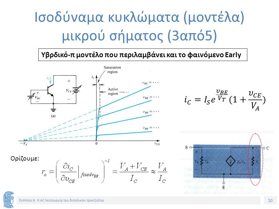 10 Ενότητα 6: Η AC λειτουργία του διπολικού τρανζίστορ Ισοδύναμα κυκλώματα (μοντέλα) μικρού σήματος (3από5) Υβρδικό-π μοντέλο που περιλαμβάνει και το
