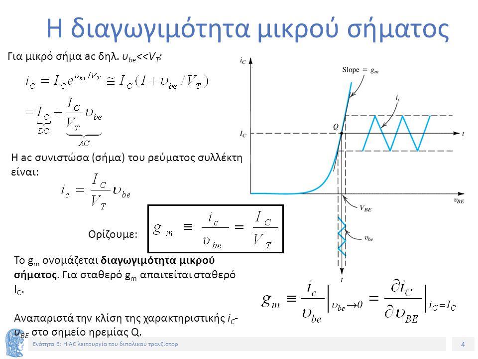 4 Ενότητα 6: Η AC λειτουργία του διπολικού τρανζίστορ Η διαγωγιμότητα μικρού σήματος Για μικρό σήμα ac δηλ. υ be <<V T : Η ac συνιστώσα (σήμα) του ρεύ