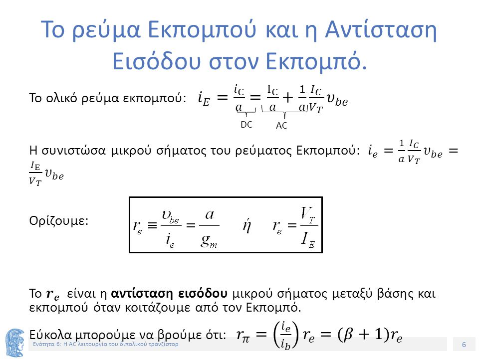 6 Ενότητα 6: Η AC λειτουργία του διπολικού τρανζίστορ Το ρεύμα Εκπομπού και η Αντίσταση Εισόδου στον Εκπομπό. DC AC
