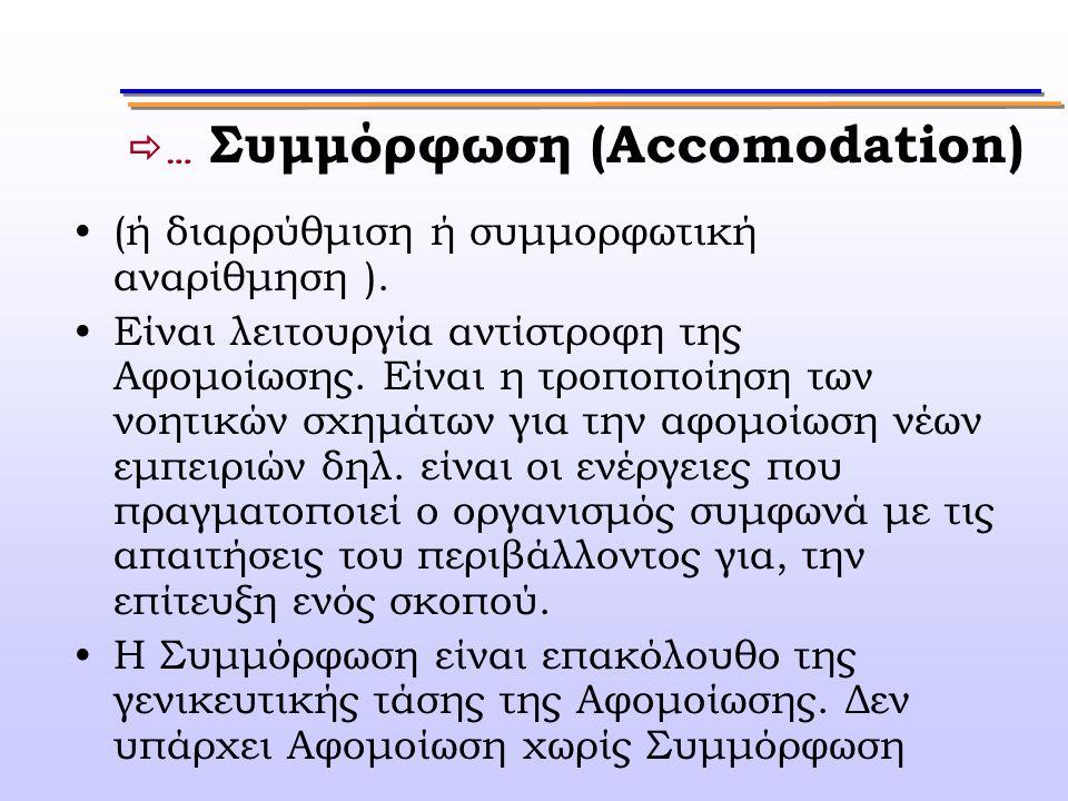  … Συμμόρφωση (Accomodation) (ή διαρρύθμιση ή συμμορφωτική αναρίθμηση ). Είναι λειτουργία αντίστροφη της Αφομοίωσης. Είναι η τροποποίηση των νοητικών