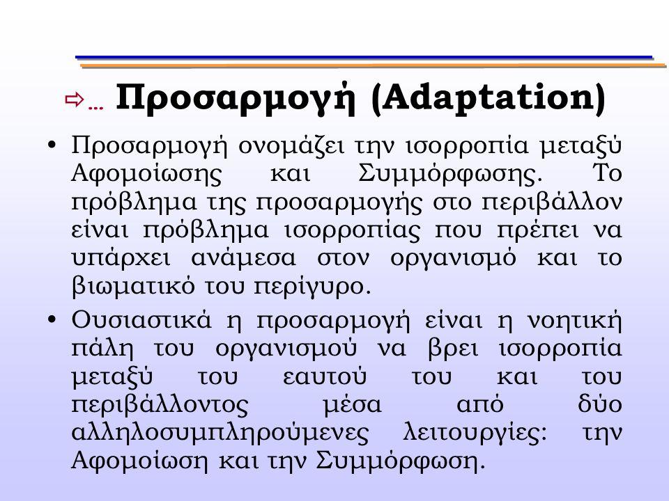  … Προσαρμογή (Adaptation) Προσαρμογή ονομάζει την ισορροπία μεταξύ Αφομοίωσης και Συμμόρφωσης. Το πρόβλημα της προσαρμογής στο περιβάλλον είναι πρόβ