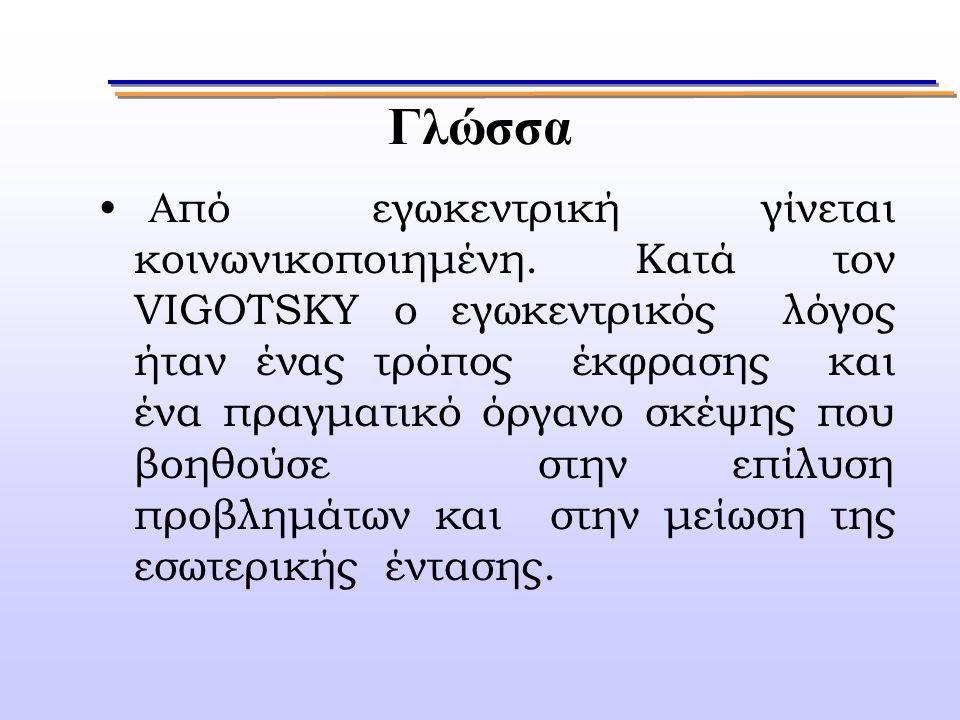 Γλώσσα Α πό εγωκεντρική γίνεται κοινωνικοποιημένη. Κατά τον VIGOTSKY ο εγωκεντρικός λόγος ήταν ένας τρόπος έκφρασης και ένα πραγματικό όργανο σκέψης π
