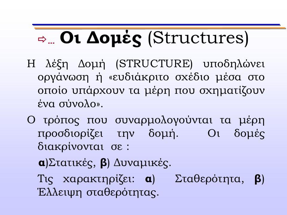  … Οι Δομές (Structures) Η λέξη Δομή (STRUCTURE) υποδηλώνει οργάνωση ή «ευδιάκριτο σχέδιο μέσα στο οποίο υπάρχουν τα μέρη που σχηματίζουν ένα σύνολο»