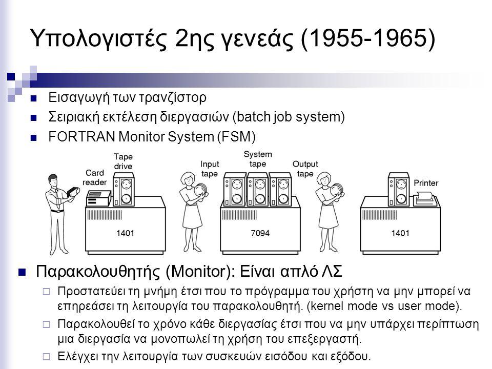 Υπολογιστές 2ης γενεάς (1955-1965) Εισαγωγή των τρανζίστορ Σειριακή εκτέλεση διεργασιών (batch job system) FORTRAN Monitor System (FSM) Παρακολουθητής (Monitor): Είναι απλό ΛΣ  Προστατεύει τη μνήμη έτσι που το πρόγραμμα του χρήστη να μην μπορεί να επηρεάσει τη λειτουργία του παρακολουθητή.