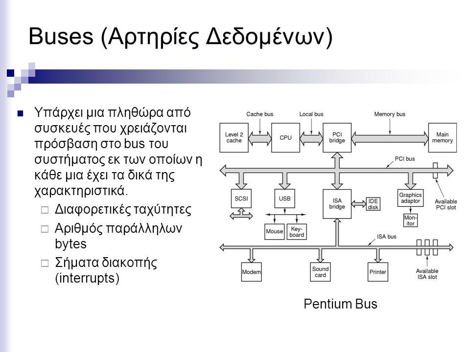 Buses (Αρτηρίες Δεδομένων) Υπάρχει μια πληθώρα από συσκευές που χρειάζονται πρόσβαση στο bus του συστήματος εκ των οποίων η κάθε μια έχει τα δικά της χαρακτηριστικά.