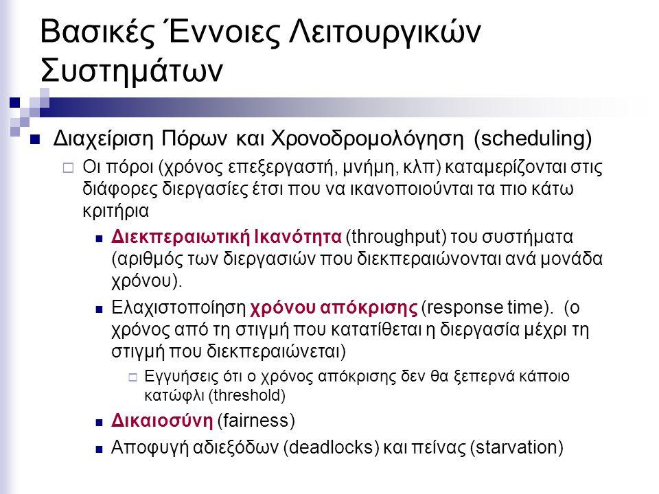 Βασικές Έννοιες Λειτουργικών Συστημάτων Διαχείριση Πόρων και Χρονοδρομολόγηση (scheduling)  Οι πόροι (χρόνος επεξεργαστή, μνήμη, κλπ) καταμερίζονται